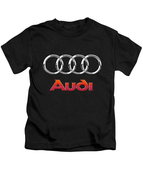 Audi 3 D Badge On Black Kids T-Shirt by Serge Averbukh