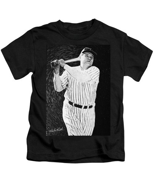 Babe Ruth Kids T-Shirt by Taylan Apukovska