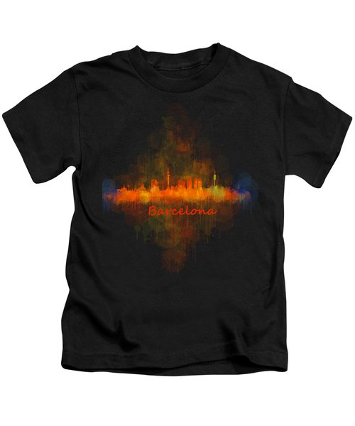 Barcelona City Skyline Uhq _v4 Kids T-Shirt by HQ Photo