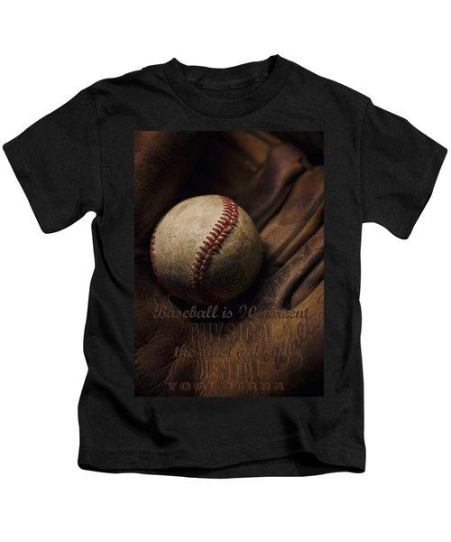 Baseball Yogi Berra Quote Kids T-Shirt by Heather Applegate