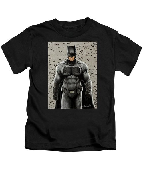 Batman Ben Affleck Kids T-Shirt by David Dias