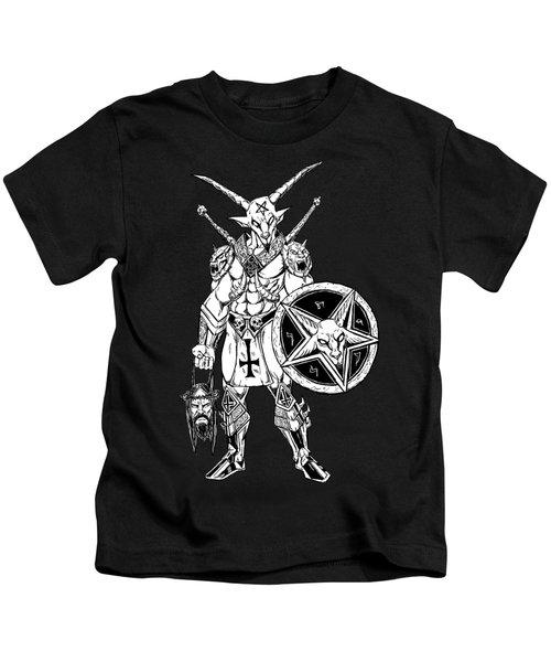 Battle Goat Black Kids T-Shirt by Alaric Barca