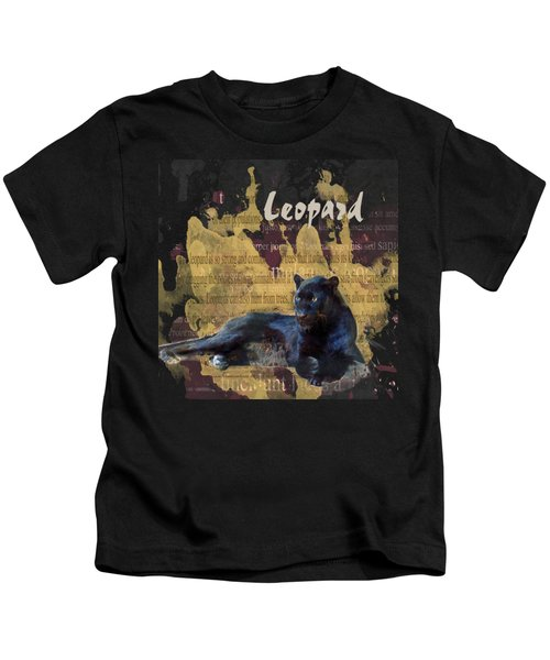 Black Leopard Kids T-Shirt by Methune Hively