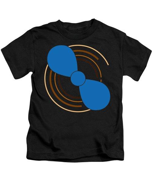 Blue Propeller Kids T-Shirt by Frank Tschakert