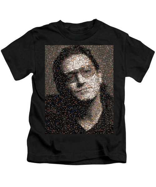 Bono U2 Albums Mosaic Kids T-Shirt by Paul Van Scott