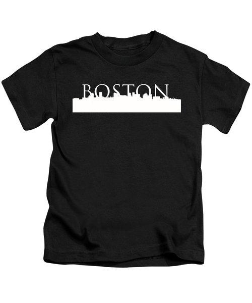 Boston Skyline Outline Logo 2 Kids T-Shirt by Joann Vitali