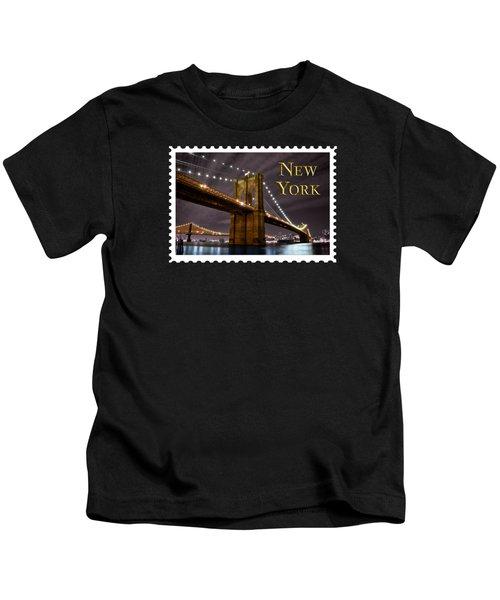 Brooklyn Bridge At Night New York City Text Kids T-Shirt by Elaine Plesser