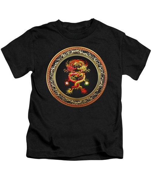 Brotherhood Of The Snake - The Red And The Yellow Dragons On Black Velvet Kids T-Shirt by Serge Averbukh