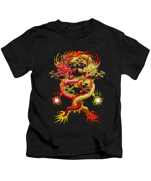 Brotherhood Of The Snake - The Red And The Yellow Dragons On Red And Black Leather Kids T-Shirt by Serge Averbukh