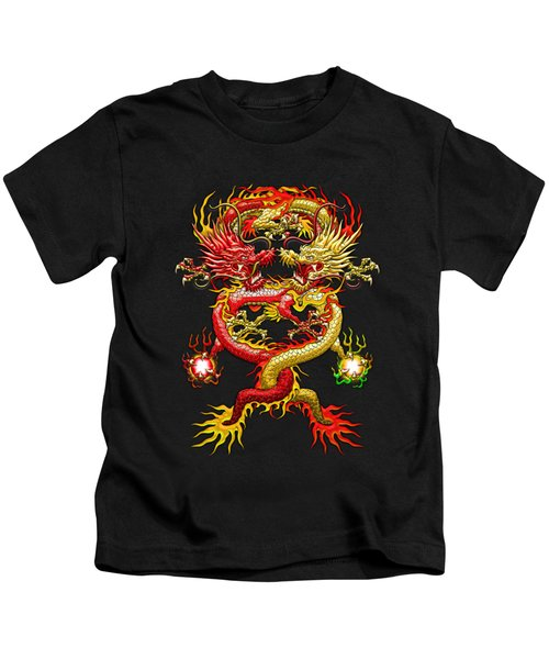 Brotherhood Of The Snake - The Red And The Yellow Dragons  Kids T-Shirt by Serge Averbukh
