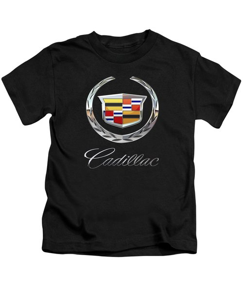 Cadillac - 3d Badge On Black Kids T-Shirt by Serge Averbukh