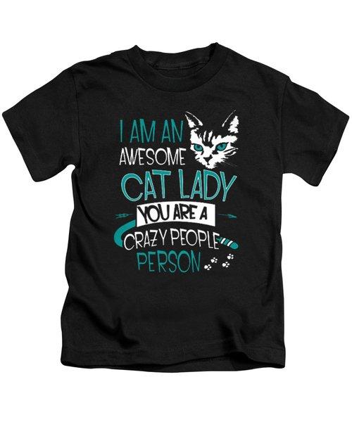 Cat Lady Kids T-Shirt by Jackie Robinson