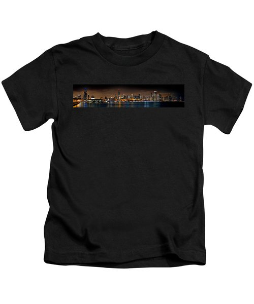 Chicago Skyline At Night Extra Wide Panorama Kids T-Shirt by Jon Holiday