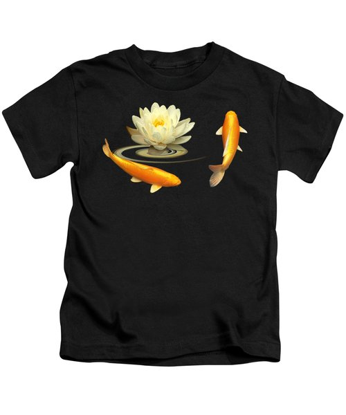 Circle Of Life - Koi Carp With Water Lily Kids T-Shirt by Gill Billington