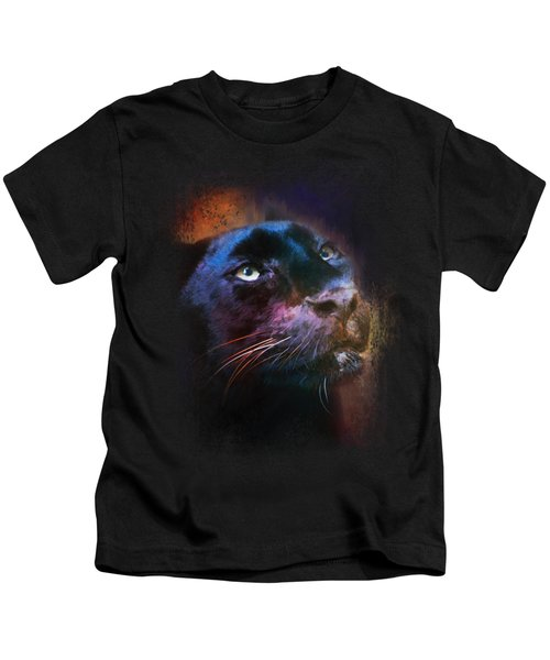 Colorful Expressions Black Leopard Kids T-Shirt by Jai Johnson