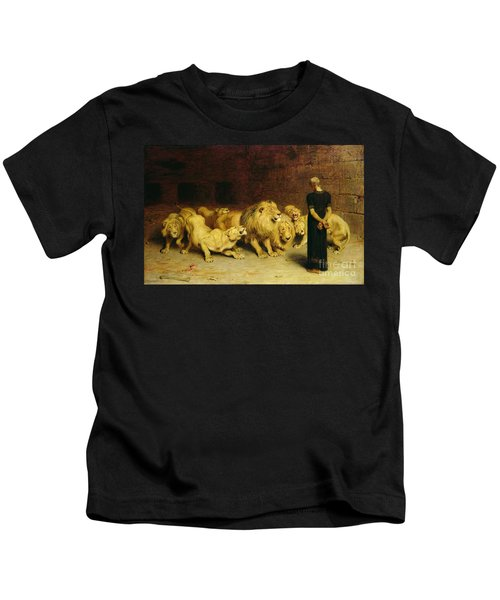 Daniel In The Lions Den Kids T-Shirt by Briton Riviere