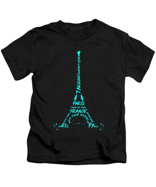 Digital-art Eiffel Tower Cyan Kids T-Shirt by Melanie Viola
