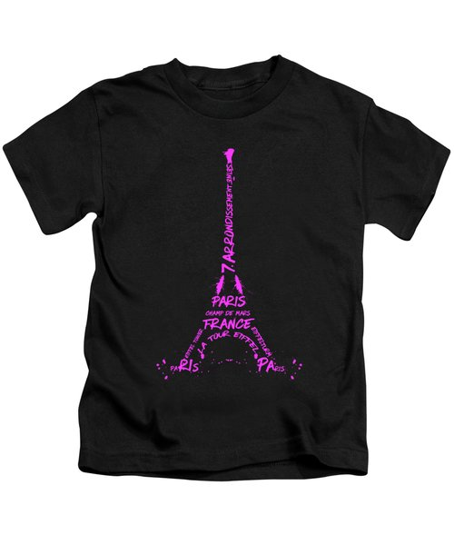 Digital-art Eiffel Tower Pink Kids T-Shirt by Melanie Viola