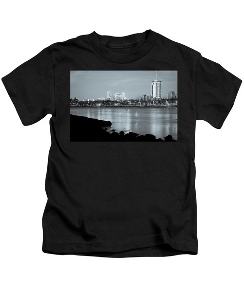 Downtown Tulsa Oklahoma - University Tower View - Black And White Kids T-Shirt by Gregory Ballos
