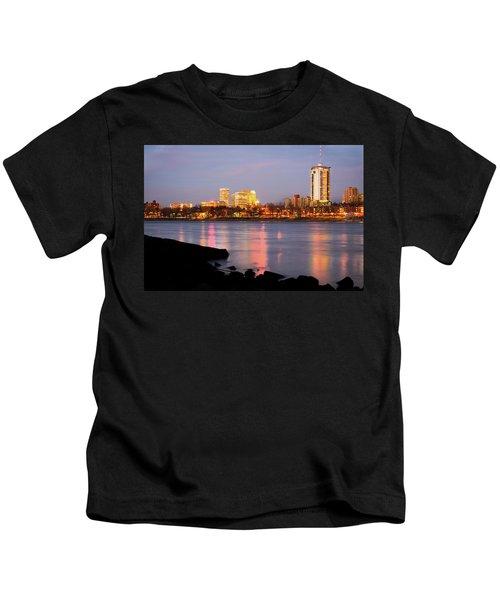 Downtown Tulsa Oklahoma - University Tower View Kids T-Shirt by Gregory Ballos