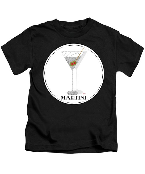 Dry Martini Cocktail Pop Art Deco Kids T-Shirt by Cecely Bloom