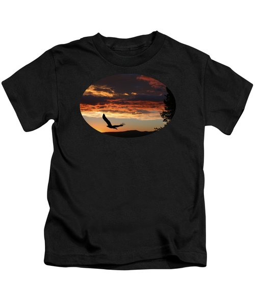Eagle At Sunset Kids T-Shirt by Shane Bechler