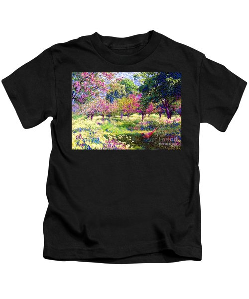 Echoes From Heaven, Spring Orchard Blossom And Pheasant Kids T-Shirt by Jane Small