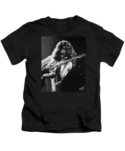 Eddie Van Halen - Black And White Kids T-Shirt by Tom Carlton