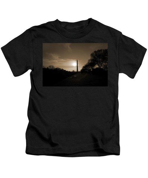 Evening Washington Monument Silhouette Kids T-Shirt by Betsy Knapp