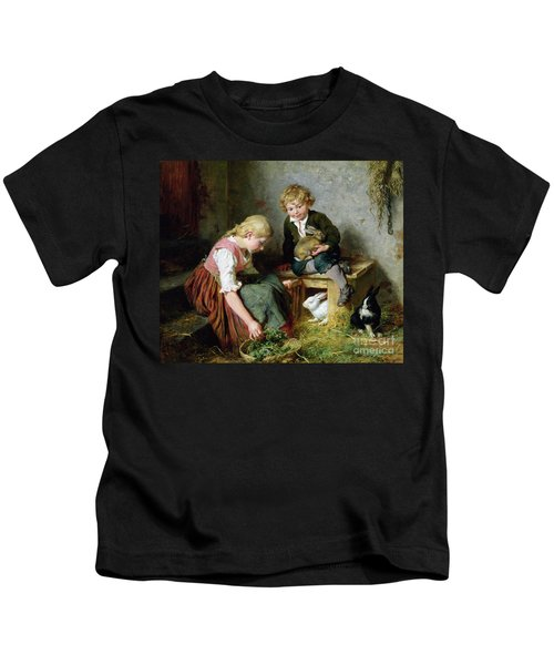Feeding The Rabbits Kids T-Shirt by Felix Schlesinger
