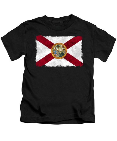 Florida Flag Kids T-Shirt by World Art Prints And Designs