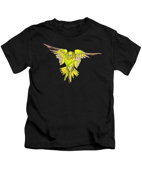 Flying Budgie Kids T-Shirt by Lorraine Kelly