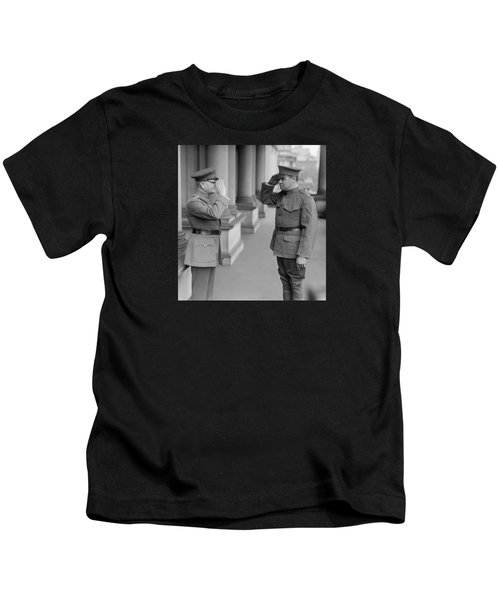General John Pershing Saluting Babe Ruth Kids T-Shirt by War Is Hell Store