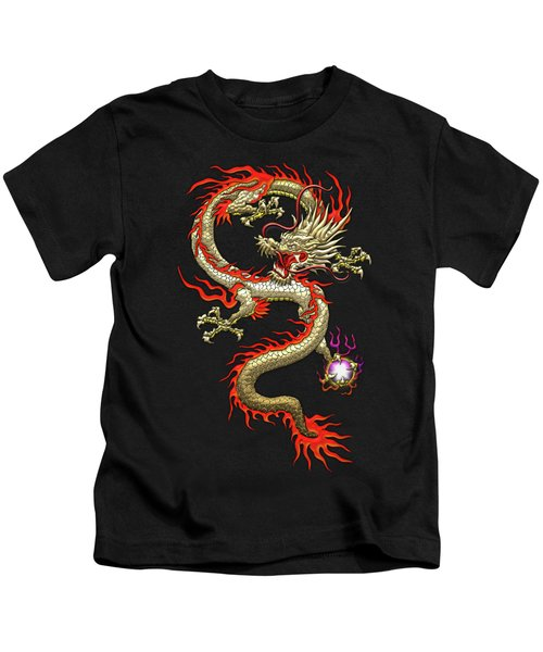 Golden Chinese Dragon Fucanglong On Black Silk Kids T-Shirt by Serge Averbukh