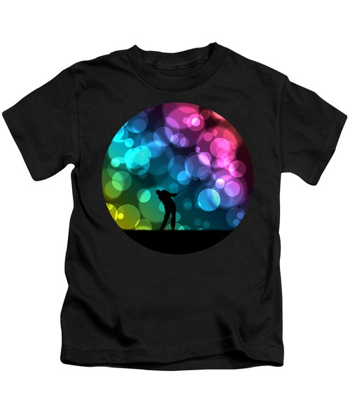 Golfer Driving Bokeh Graphic Kids T-Shirt by Phil Perkins