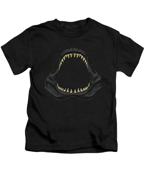 Great White Shark - Black Jaws With Gold Teeth On Black Canvas Kids T-Shirt by Serge Averbukh
