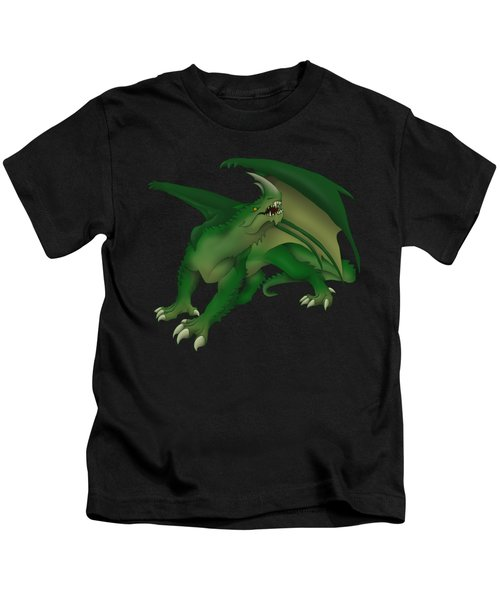 Green Dragon Kids T-Shirt by Gaynore Craps