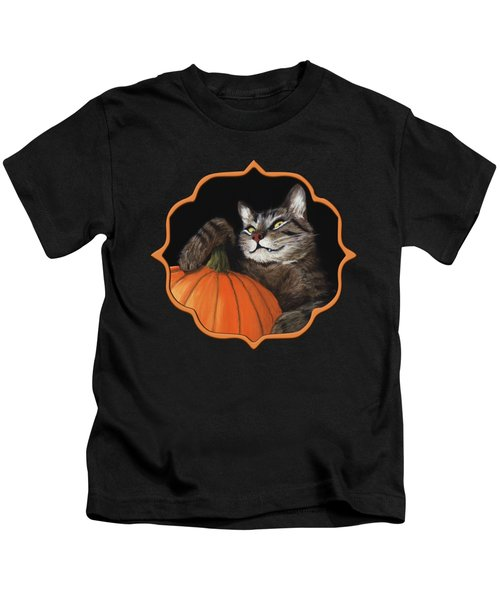 Halloween Cat Kids T-Shirt by Anastasiya Malakhova