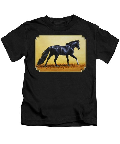 Horse Painting - Black Beauty Kids T-Shirt by Crista Forest