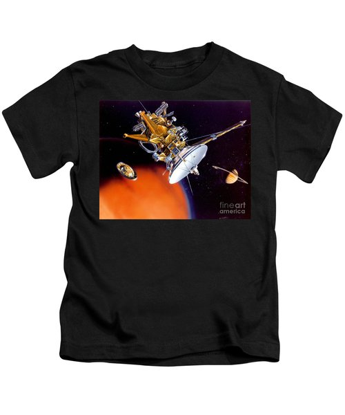 Huygens Probe Separating Kids T-Shirt by NASA and Photo Researchers