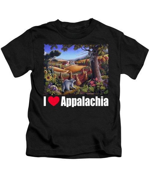 I Love Appalachia T Shirt - Coon Gap Holler 2 - Country Farm Landscape Kids T-Shirt by Walt Curlee