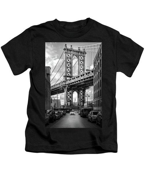 Iconic Manhattan Bw Kids T-Shirt by Az Jackson