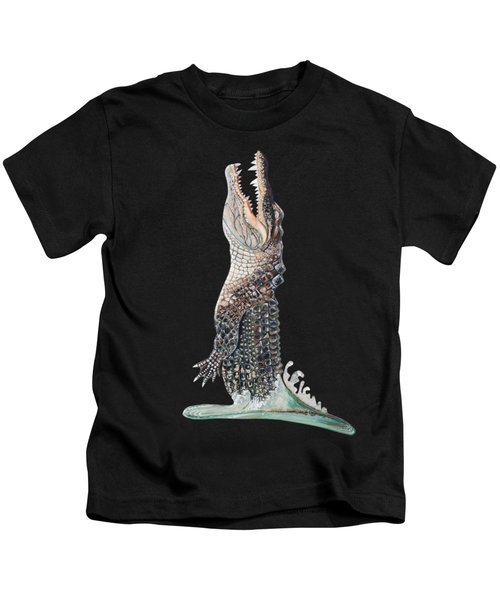 Jumping Gator Kids T-Shirt by Jennifer Rogers