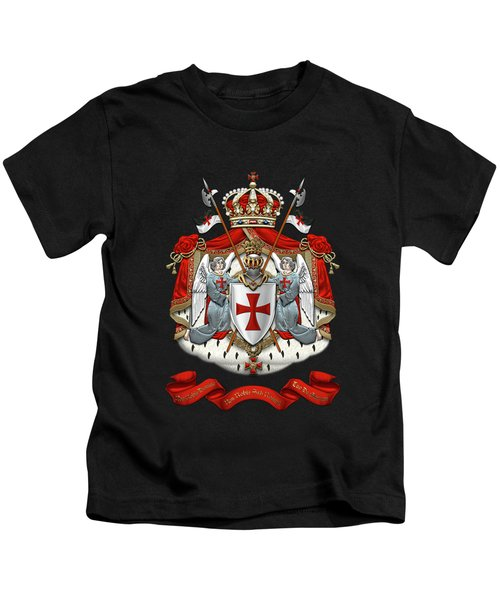 Knights Templar - Coat Of Arms Over Black Velvet Kids T-Shirt by Serge Averbukh