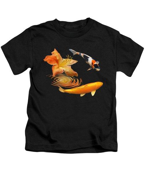 Koi With Azalea Ripples Square Kids T-Shirt by Gill Billington