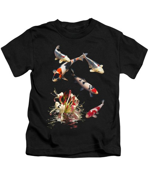 Koi With Honeysuckle Reflections Vertical Kids T-Shirt by Gill Billington