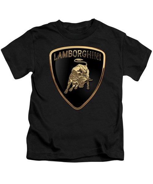 Lamborghini - 3d Badge On Black Kids T-Shirt by Serge Averbukh