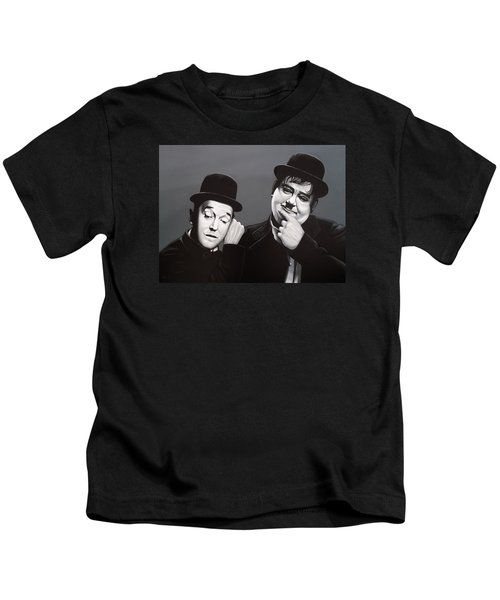 Laurel And Hardy Kids T-Shirt by Paul Meijering
