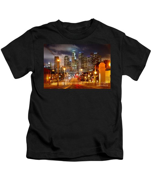Los Angeles Skyline Night From The East Kids T-Shirt by Jon Holiday