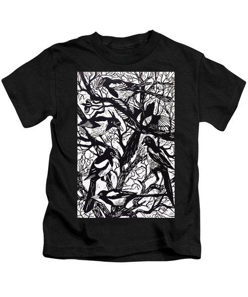 Magpies Kids T-Shirt by Nat Morley